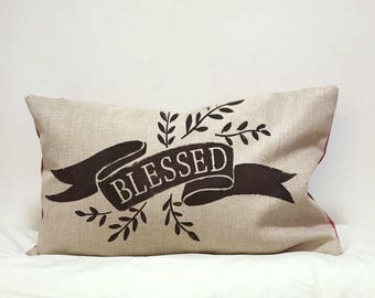 Blessed pillow cover Rustic Decor,Home Decor,Housewarming gift