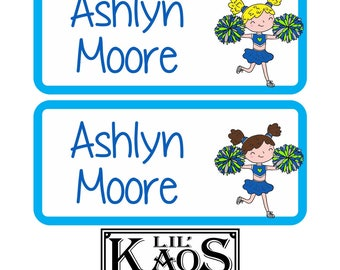 42 Dishwasher Safe & Waterproof Kids Personalized Name Label Stickers with Blue Cheerleader Children Baby Bottle Daycare School Tag Sports