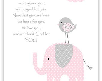 Before You Were Born Nursery Quote, Grey and Pale Pink, Elephant Nursery, Girl's Room Decor, Baby Girl, New Baby Gift, Elephant Canvas Art