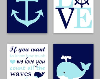 Nautical Nursery, Boy Nautical Room, Baby Boy Ocean Decor, Whale Art, If you want to know, count all the waves, Love Print, Anchor Canvas