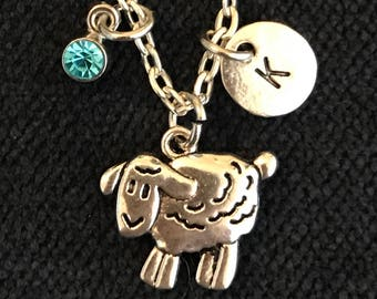 Lamb Initial Necklace Lamb Initial Jewelry