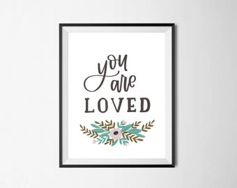 """You Are Loved - Printable Scripture Art - Instant Download - 8X10"""""""