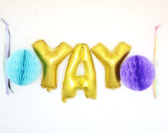15'' Gold Letter YAY Foil Party Balloons
