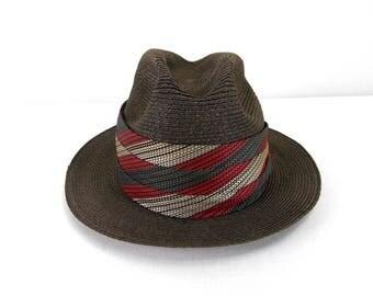 Dobbs Straw Fedora Hat 7 1/8 Brown