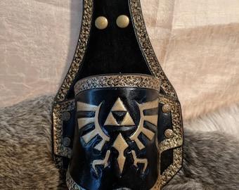 Legend of Zelda Inspired Hand Tooled Triforce Leather Beer Holster
