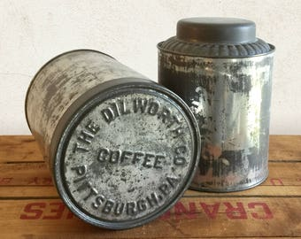 Vintage Metal Canister Set, Tin Canisters, Metal Storage Kitchen Canisters, Tin Cans, Industrial, Farmhouse, Primitive Rustic Home Decor