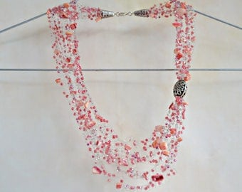 Pink Multistrand Necklace Crochet Necklace Summer Party Pearl Shells Beads Crochet Necklace Airy Necklace Strands Necklace Summer Gift