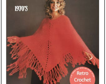 Party Poncho 1970's Crochet Pattern – PDF Crochet Pattern - Instant Download