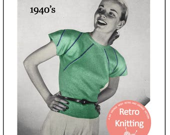1940's Casual Sweater Knitting Pattern - PDF Instant Download