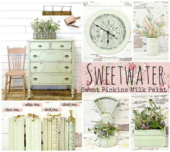 Sweet Pickins Milk Paint | NEW Color - SWEETWATER | Farmhouse Cottage | Chippy | Rustic | Primitive | Furniture Paint | Home Decor | Brown