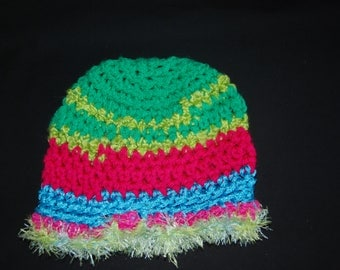 Crochet women's  hat , green and pink hat