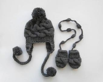 ON SALE 20% DISCOUNT Newborn Baby Winter Hat and Mittens , Baby Boy Hat and Mittens  , Knit Baby Hat and Mittens for Baby