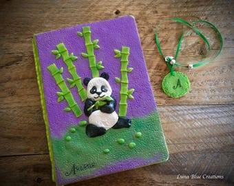 Personalized Panda journal, Polymer Clay Journal, Personalized notebook, personalized sketchbook, custom journal, custom sketchbook, diary