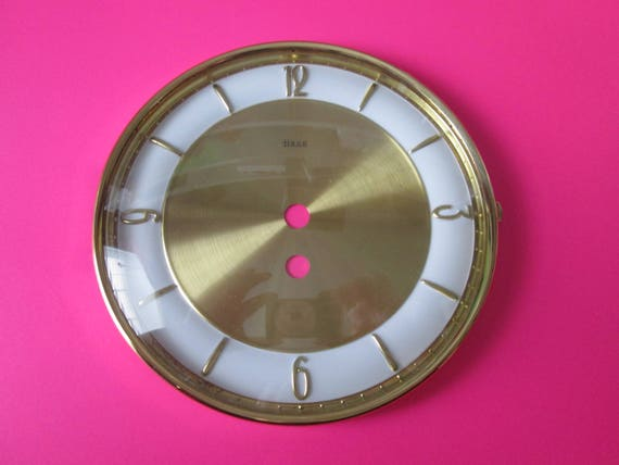"1 New/Old Stock German Heco Domed Glass Brass and Steel 6 1/4"" Clock Dial with 5/8""  Numbers for your Clock Projects"