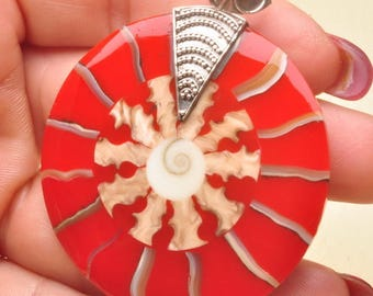 Red and White Sea Shell  inlay  Shiva Shell  Sterling Silver Pendant / 925 Sterling Silver Jewelry Pendant