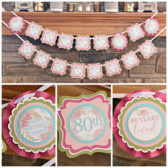 80TH BIRTHDAY DECORATIONS Floral Birthday 80th Party Banner Happy