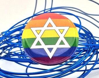 jewish inclusive pride flag pin | star of david rainbow button