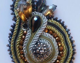 Soutache Brooch, Soutache Upcycled Brooch, Soutache Hand Embroidered Brooch, Gold, Black, Bronze