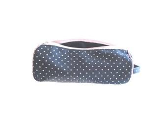 Denim polka dots navy blue zipped pen case