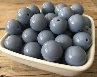 20mm Winter Light Blue Solid Chunky Bead,  Bubblegum Bead, Acrylic Bead, DIY Chunky Necklace, 10 Count