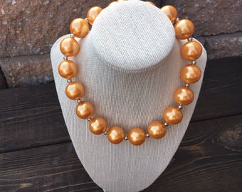 Light Orange Adult Chunky Necklace, Faux Pearl Fall Bubblegum Necklace, Womens Everyday Necklace,  Ladies Statement Necklace, Thanksgiving,