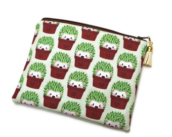 Hedgehog Zipper Pouch for purse organization, passport and travel documents, dry snacks, planner supplies, washi tape, & more Green Hedgies