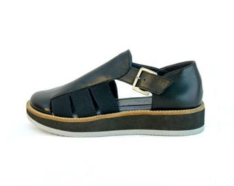 ON SALE Black Sandals - Women's Sandals - Women's Leather Sandals - Women's Platform Sandals - Platform Sandals - Summer Sandals