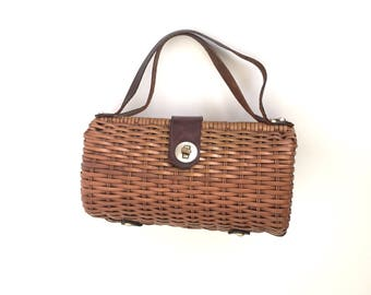 vintage 1950s purse | 50s barrel wicker purse