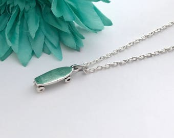 Skate board necklace -  skate board  with chain necklace - fun necklace - silver necklace with lobster clasp - great gift - comes wrapped