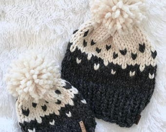 Chunky Knit Fair Isle Mommy + Me Set with  Pom | Charcoal/Fisherman | THE MODELLO