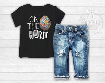 Boy Easter Shirt, On the Hunt Baby Boy Easter Shirt, Boy Easter Outfit, ANY SIZE Bodysuit or Shirt, Easter Bodysuit, Trendy Easter Shirt