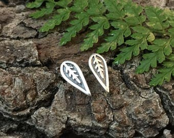Leaf studs, leaf earrings, silver leaves, silver leaf studs, gift for her, gift for mum, gift for plant lover, gift for gardener
