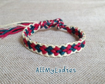 Friendship Bracelet white cream Maroon dark red (No C6)