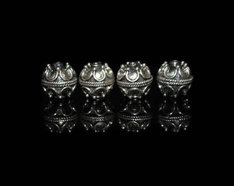 Four 8mm Sterling Silver Bali Beads, Lot of 4 x 8/9mm Sterling Silver Beads, Sterling Silver Beads, 8mm Bali Beads