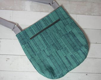 Cross Body Purse with Adjustable Strap in Pretty Abstract Fabrics - One of a Kind! Teal, Yellow, Tote, Shoulder Bag, Satchel