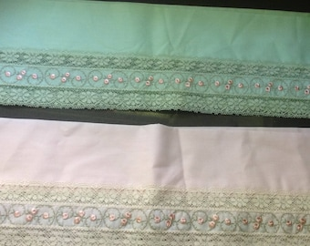 Fabric with lace and embroidery