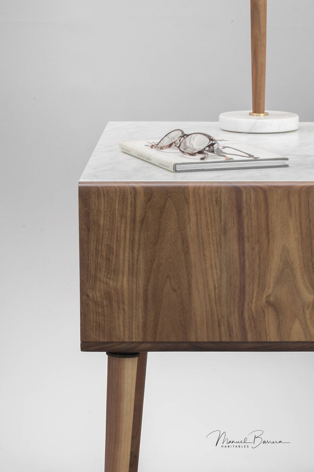 Nightstand Bedside Table In Solid Walnut Oak With