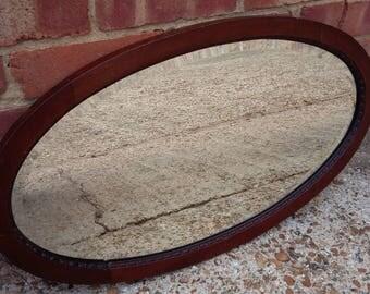Vintage Mahogany Oval Bevelled Mirror