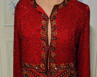 Red Laurence Kazar Black and Gold Beaded Jacket.  PS