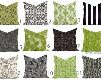 Outdoor Pillows or Indoor  Custom Cover - Black Gray Taupe Green Kiwi Lime White Contemporary Modern Geometric Coastal 18x18, 16x16