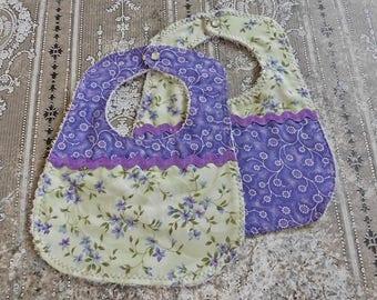 Baby Bib Set - Baby Bib - Drool Bib - Dribble Bib - Floral Baby Bib - Handmade Bib - Feeding Bib - Newborn Bib - Baby Gift - Baby Girl Bib
