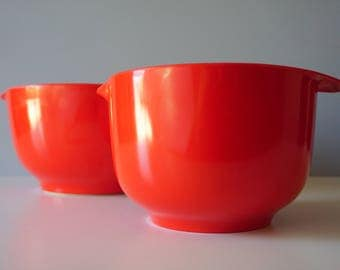 Vintage Rosti Mepal Melamine Danish Modern Margrethe Set 2L & 4L Mixing nesting Bowls Red