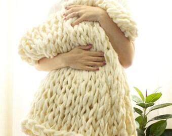 "FLASH SALE! // Chunky Knit Blanket // Chunky Knit Throw //  36"" x 55"" // Milk // Simply Maggie"