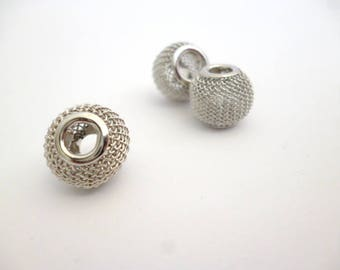 Silver Tone Large Hole Metal Beads_ PP65410008/665472_Large wire Silver Beads of 12x10 mm _ hole 4 mm _ pack 5 pcs