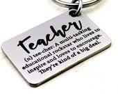 Laser engraved Teacher Key Chain, education, rockstar, inspire, encourage, big deal, teaching, school, educator, students, gift for teacher