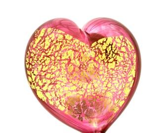 Heart of Gold Art Glass Paperweight, Gold Ruby, Medium Size #4
