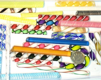Latticino, Zanfirico and Ribbon Mix Variety Pack,  4 ounce package, 96 COE Fusing and Jewelry Canes #12
