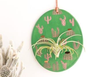 Cactus Wall Hanging, Gold Cactus Wall Art, Air Plant Wall Hanging, Plant Lovers Gift, Ceramic Air Plant Wall Holder, Air Plant Wall Hanger