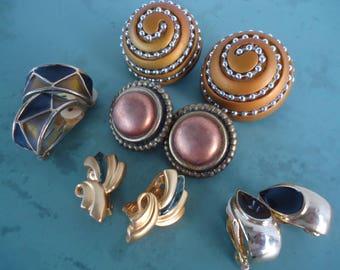 1980's Clip On Earrings  (lot of 5)