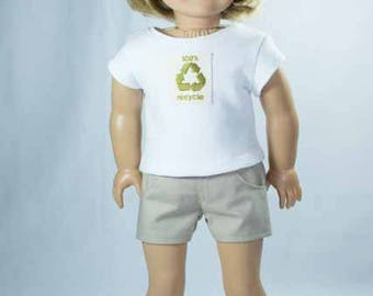 SHORTS in Khaki Tan with White TEE Shirt with Recycle Applique and Two SANDALS Options for American Girl or 18 Inch Doll